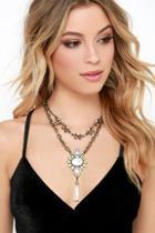 Lulu*s Mystical Memory Gold Layered Rhinestone Necklace