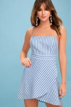 Central Park Blue And White Striped Dress | Lulus