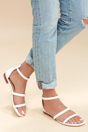 Quin White Flat Sandal Heels | Lulus