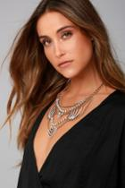 Lulus | Putting On The Ritz Gold Rhinestone Statement Necklace