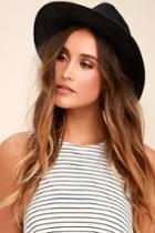 Lulus | Hiya Black Suede Fedora Hat