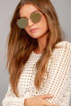 Quay | On A Dime Gold And Yellow Mirrored Sunglasses | Lulus