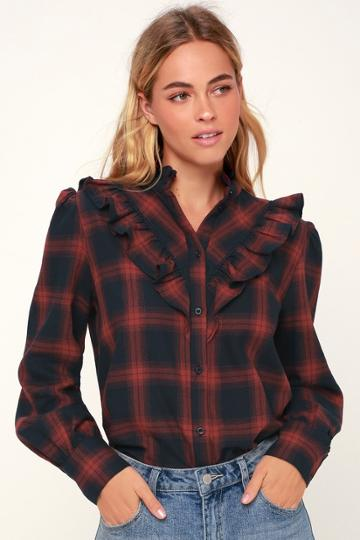The Fifth Label Nash Navy Blue And Red Plaid Ruffled Long Sleeve Top | Lulus