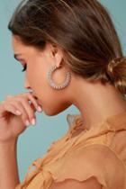 Lulus | Glamorous Life Gold Rhinestone Hoop Earrings