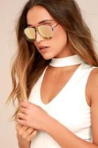Lulus | Skyward Pink Mirrored Aviator Sunglasses