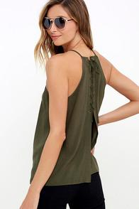 Lulus Laced Back Olive Green Lace-up Top