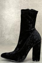 Cape Robbin Marvel Black Velvet Mid-calf Boots