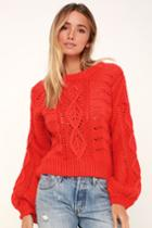 Lush Winona Coral Red Balloon Sleeve Cable Knit Sweater | Lulus