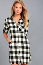 Lulus Neck Of The Woods Black And White Plaid Shirt Dress