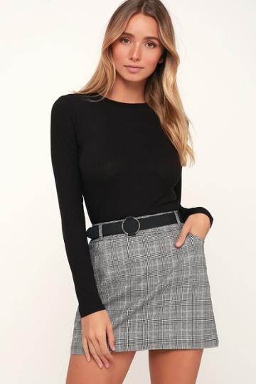 Lulus Basics Hollis Black Ribbed Long Sleeve Crop Top | Lulus