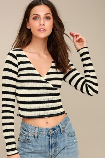Project Social T Noemie Black And White Striped Long Sleeve Crop Top | Lulus