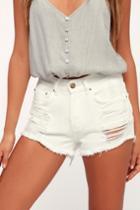 Billabong Drift Away White Distressed Denim Cutoff Shorts | Lulus