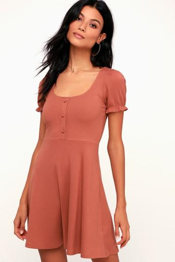 Hopscotch Rusty Rose Ribbed Short Sleeve Skater Dress | Lulus