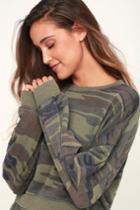 Z Supply Cohorts Green Camo Print Long Sleeve Sweatshirt | Lulus