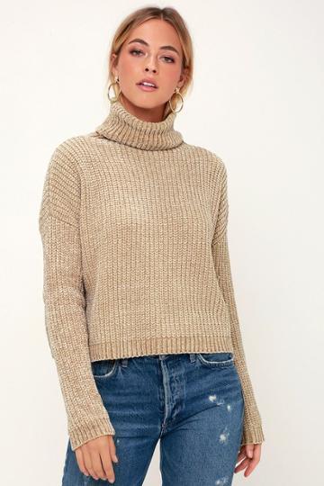 Blank Nyc Francia Beige Chenille Turtleneck Sweater | Lulus
