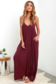 Lulus Yours Tule Burgundy Maxi Dress