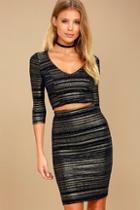 Lulus Shimmer Down Navy Blue And Gold Striped Two-piece Dress