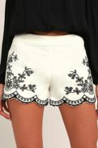 Lulus | Lookout Point Ivory Embroidered Shorts | Size Large | White