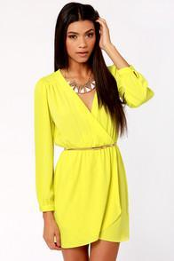 Honey Punch That's A Wrap Neon Yellow Long Sleeve Dress