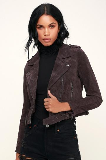 Blank Nyc Backhanded Dark Plum Purple Genuine Suede Leather Moto Jacket | Lulus