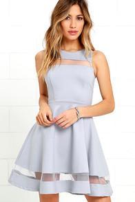 Lulus Sheer Determination Blue Grey Mesh Skater Dress