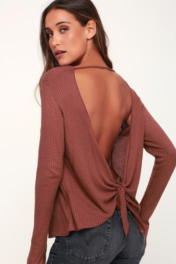 Lucy Love Back At It Mauve Long Sleeve Backless Thermal Top   Lulus