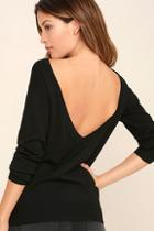 Lulus Me Too Black Backless Sweater Top