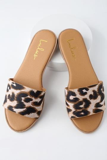 Dawn Camel Leopard Print Slide Sandal Heels | Lulus