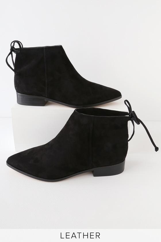 Splendid Niva Black Suede Leather Pointed Toe Ankle Booties | Lulus