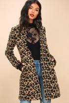 Feline Fantastic Tan Leopard Print Coat   Lulus