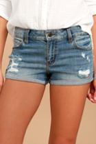 Eunina Bounce Back Light Wash Distressed Denim Shorts | Lulus
