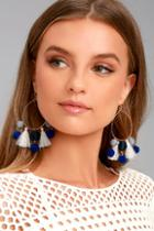 Lulus Exploration Gold And Blue Hoop Earrings