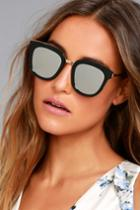 Lulus | Revelry Black And Silver Mirrored Sunglasses