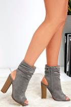 Lulus Only The Latest Grey Suede Peep-toe Booties