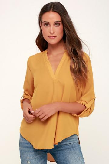 Lush V-sionary Mustard Yellow Top   Lulus