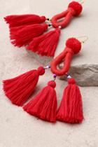 Lulus Paint The Town Red Tassel Earrings