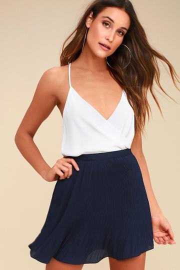 Next To Me Navy Blue Pleated Mini Skirt | Lulus
