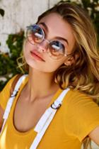 Perverse | Half And Half Gold And Blue Round Sunglasses | Lulus