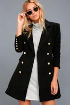 Lulus   Captain's Blog Black Double-breasted Coat   Size Medium   100% Polyester