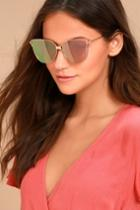 Lulus | Bright Lights Rose Gold And Pink Mirrored Sunglasses