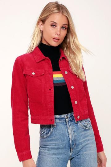 Rolla's Runaway Red Cropped Corduroy Jacket | Lulus