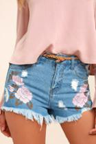 On Twelfth | Posy Parade Light Wash Embroidered Distressed Denim Shorts | Size 26 | Blue | Lulus