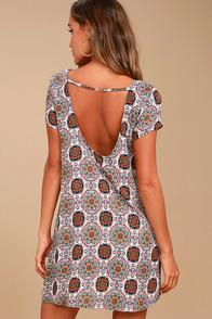 Lulus Perfect Getaway Blue And Orange Print Shift Dress
