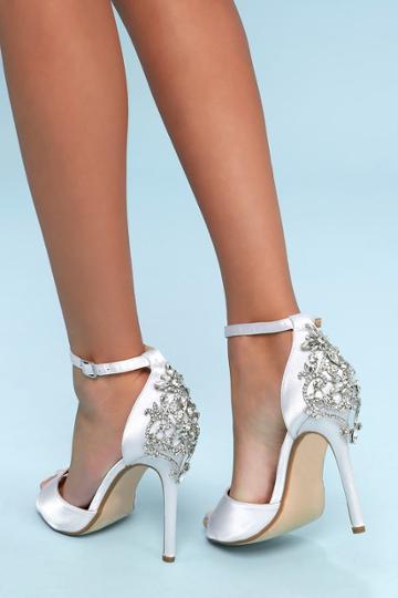 So Me Arwen White Rhinestone Satin Peep-toe Heels | Lulus