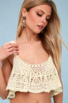 Free People Free Bird Ivory Crochet Cropped Tank Top | Lulus