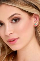 Lulu*s Flock Of Falcons Gold And Turquoise Ear Cuffs