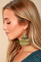 Lulus | Ostara Olive Green Beaded Tassel Earrings