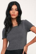 You're The One Charcoal Grey Lettuce Edge Cropped Tee | Lulus