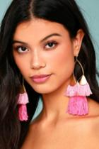 Ettika | Destiny Around You Hot Pink And Gold Earrings | Lulus