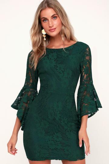 Allure 'em In Forest Green Lace Flounce Sleeve Dress | Lulus